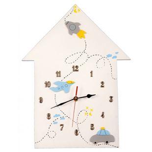 Obrázek Dětské dřevěné hodiny Domeček - Modrá