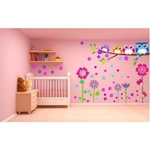 Obrázek Sovy a kytky samolepka na zeď