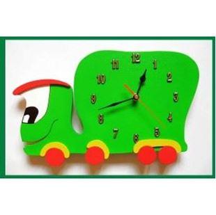 Obrázek Dětské dřevěné hodiny Auto - Zelená