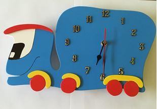 Obrázek Dětské dřevěné hodiny Auto - Modrá