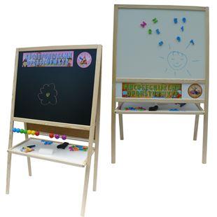 Obrázek Dětská magnetická tabule 3v1 přírodní - výška 109 cm