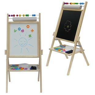 Obrázek Dětská otočná magnetická tabule 4v1 přírodní - výška 89 cm