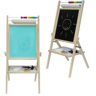 Obrázek Dětská otočná modrá tabule 4v1 přírodní - výška 88 cm