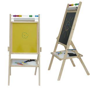 Obrázek Dětská otočná žlutá tabule 4v1 přírodní - výška 88 cm