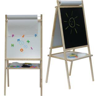 Obrázek Dětská magnetická tabule 3v1 přírodní - výška 94 cm