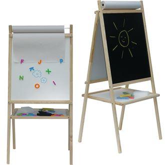 Obrázek z Dětská magnetická tabule 3v1 přírodní - výška 94 cm