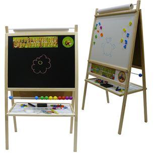 Obrázek Dětská magnetická tabule 4v1 přírodní - výška 116 cm