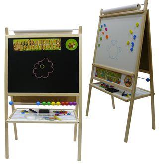 Obrázek z Dětská magnetická tabule 4v1 přírodní - výška 116 cm