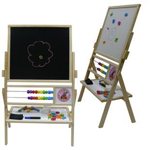 Obrázek Dětská otočná magnetická tabule 3v1 přírodní - výška 89 cm