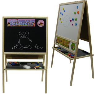Obrázek Dětská magnetická tabule 2v1 přírodní - výška 109 cm