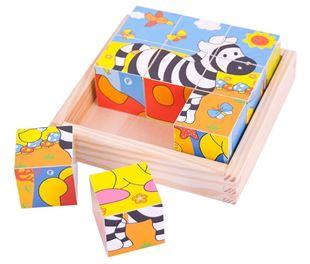 Obrázek Dřevěné obrázkové kostky kubusy - Safari - 9 kostek