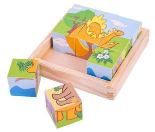 Obrázek Dřevěné obrázkové kostky kubusy - Dinosauři - 9 kostek