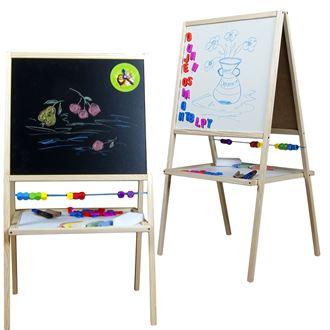 Obrázek z Dětská magnetická tabule 2v1 přírodní - výška 88 cm