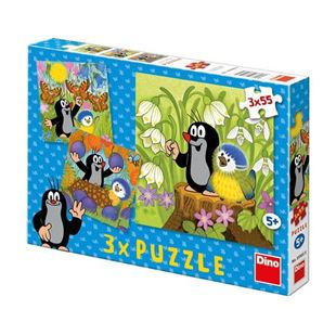 Obrázek Puzzle 3x55 dílků Krteček a ptáček