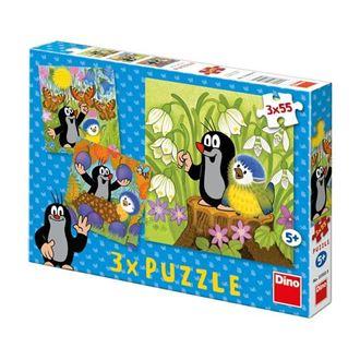 Obrázek z Puzzle 3x55 dílků Krteček a ptáček