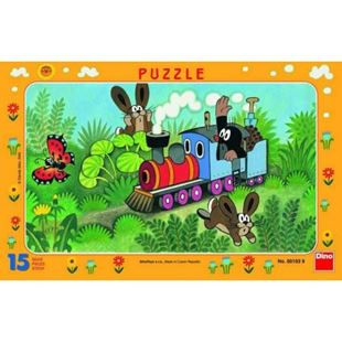 Obrázek Papírové puzzle 15 dílků Krtek a lokomotiva