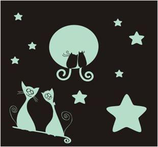 Obrázek Kočičky svítící samolepka na zeď