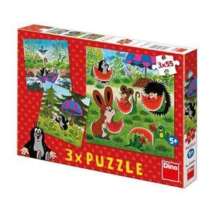 Obrázek Puzzle 3x55 dílků Krteček a paraplíčko