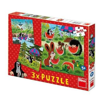Obrázek z Puzzle 3x55 dílků Krteček a paraplíčko
