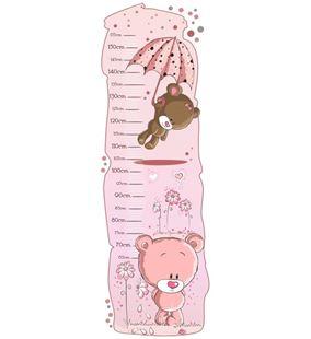 Obrázek Metr na stěnu - Medvídci růžová