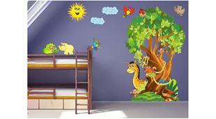 Obrázek Strom a zvířata samolepka na zeď
