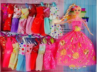 Obrázek Panenka typu Barbie 29cm + 17 ks šatiček