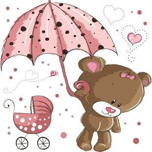Obrázek Medvídek s deštníkem samolepka na zeď