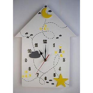 Obrázek Dětské dřevěné hodiny Domeček - Žlutá