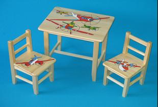 Obrázek Dětský dřevěný stůl se židlemi - Letadla