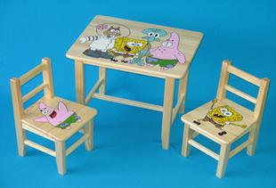 Obrázek Dětský dřevěný stůl se židlemi - Spongebob