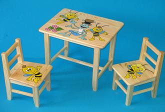 Obrázek z Dětský dřevěný stůl se židlemi - Včelka Mája