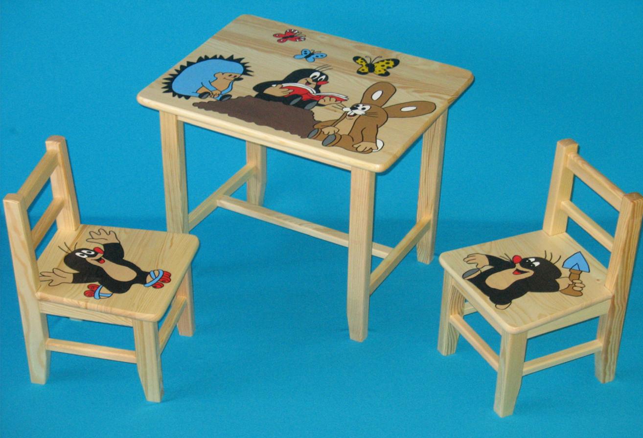 7e8e72f91a04 Dětský dřevěný stůl se židlemi - Krteček. Bambulin.cz - hračky ...