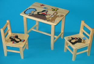 Obrázek Dětský dřevěný stůl se židlemi - Krteček