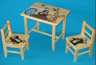Obrázek z Dětský dřevěný stůl se židlemi - Krteček