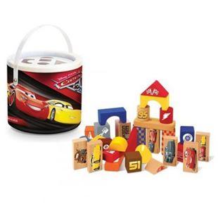 Obrázek Dřevěné kostky v kyblíku  - Cars 50ks