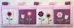 Obrázek Kapsář za postel 160x50 cm - Kytičky  fialová