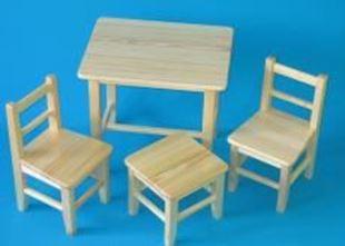 Obrázek Dětský dřevěný stůl se židlemi - Přírodní