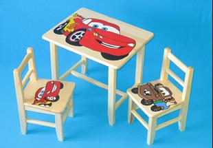 Obrázek Dětský dřevěný stůl se židlemi - Auta