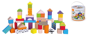 Obrázek Dřevěné kostky s motivem 50 kusů