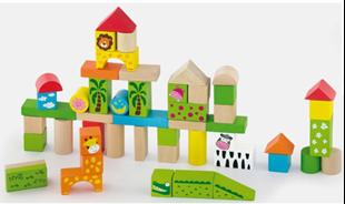 Obrázek Dřevěné kostky 50 kusů  - ZOO