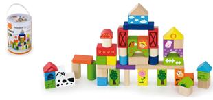 Obrázek Dřevěné kostky 50 kusů  - FARMA