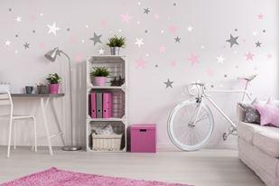Obrázek Dekorace na zeď Hvězdičky - šedá/růžová