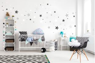 Obrázek Dekorace na zeď Hvězdičky - šedá/bílá