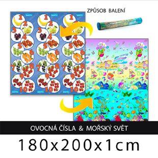 Obrázek Dětský pěnový koberec - ovocná čísla + mořský svět 180x200x1cm