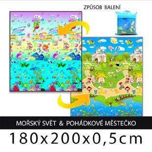 Obrázek Dětský pěnový koberec - mořský svět + pohádkové městečko 180x200x0,5cm