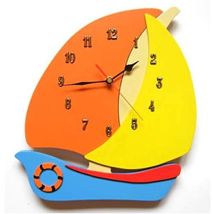 Obrázek Dětské dřevěné hodiny Plachetnice - Mix barev