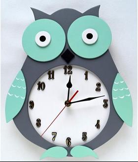 Obrázek z Dětské dřevěné hodiny Sova