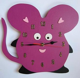 Obrázek z Dětské dřevěné hodiny Myš