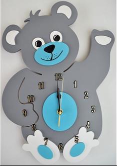 Obrázek z Dětské dřevěné hodiny Medvídek