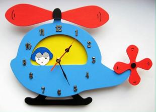 Obrázek Dětské dřevěné hodiny Vrtulník